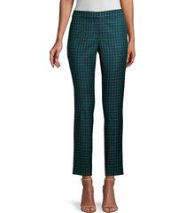 lafayette 148 new york women's manhattan gingham step hem slim pants - green multi - size 6