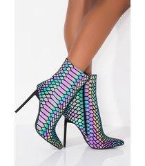 akira azalea wang flash back reflective stiletto heel bootie