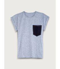 camiseta unicolor con bolsillo a contraste para mujer freedom 01802
