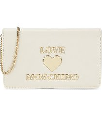 love moschino women's logo flap-top crossbody bag - avorio