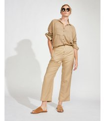pantalón beige portsaid lino cropped relax bowie