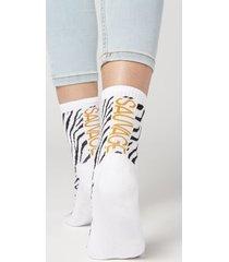 calzedonia cotton sport ankle socks woman white size tu