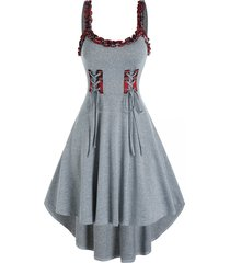 checked ruffled trim high waist cami high low dress