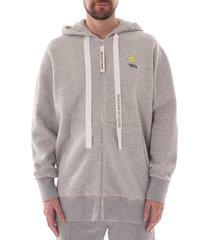 maison kitsune oversized zipped hoodie |grey| 308km08-gry