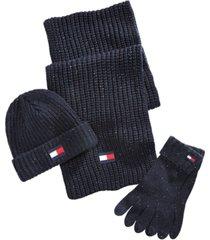 tommy hilfiger men's glove, scarf and beanie set