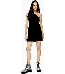 black one shoulder mini dress - black