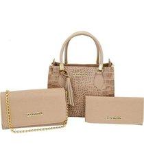 kit 2 bolsas miami + carteira victor valencia feminina