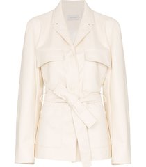 low classic tie-waist long-sleeve jacket - white