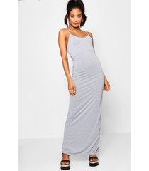 basic strappy maxi dress, grey marl