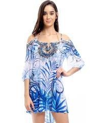 vestido 101 resort wear saãda ciganinha folhagem azul - azul/branco - feminino - dafiti