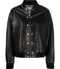 golden goose decorative buttons leather jacket - black