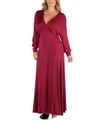 24seven comfort apparel formal long sleeve plus size maxi dress