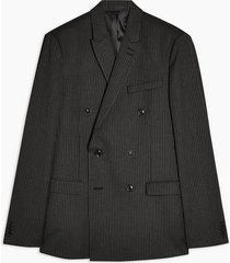 mens grey charcoal gray pinstripe double breasted skinny fit suit blazer with peak lapels