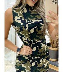 mini sin mangas con estampado de leopardo de camuflaje y cuello redondo vestido