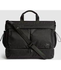 reiss lennox - nylon weekend bag in black, mens