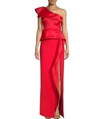 one-shoulder slit column gown