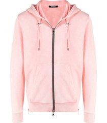 balmain beach-print zipped hoodie - pink
