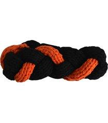 turbante tejido negro naranja minka