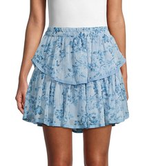 allison new york women's tiered floral skirt - blue floral - size m