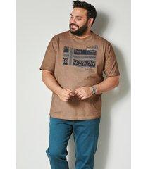 t-shirt men plus beige::marinblå