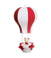 lustre balão cintura ursa quarto bebê infantil menina potinho de mel vermelho