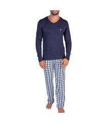 pijama masculino podiun 8174 azul maritima/marinho
