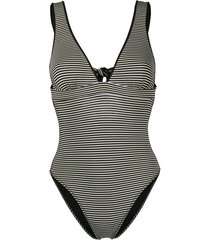 marysia striped v-neck swimsuit - black