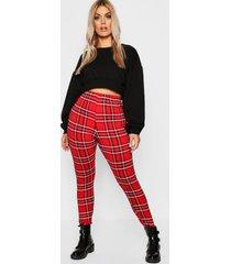 plus tartan basic legging, red