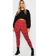 plus basic geruite legging, rood