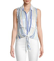 striped sleeveless frayed tie-up blouse