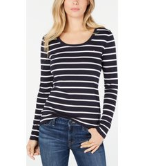 tommy hilfiger cotton striped long-sleeve t-shirt, created for macy's