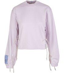mcq alexander mcqueen woman lilac round-neck sweatshirt with drawstring