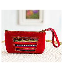 wool accented suede wristlet, 'traditional window' (peru)