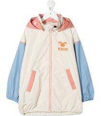 mini rodini colour-block hooded rain jacket - neutrals