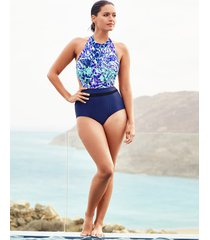 leisou high neck tummy control one-piece swimsuit