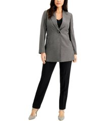 le suit long plaid jacket pantsuit