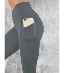 yoins basics leggings grises de cintura alta con bolsillos laterales