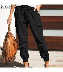 zanzea pantalón largo liso básico para mujer pantalones cónicos de moda para mujer -negro