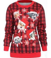cat snowflake plaid christmas sweatshirt