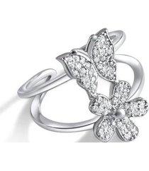 anillo mariposa flor casual plata arany joyas