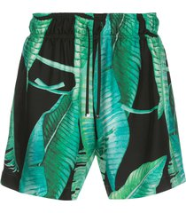 amiri banana leaf satin shorts - blue