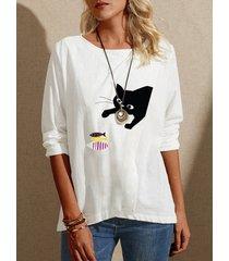 camicetta manica lunga o-collo con stampa patchwork di pesce gatto dei cartoni animati