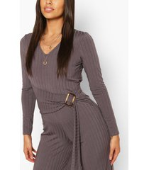 ribbed belted buckle long sleeve jumpsuit