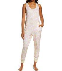 women's z well tie dye crop sleep jumpsuit, size small - yellow