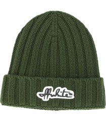 off-white logo-patch ribbed beanie hat - green