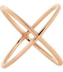 18kt rose gold solid x ring