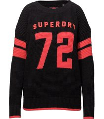 varsity cold shoulder knit stickad tröja svart superdry