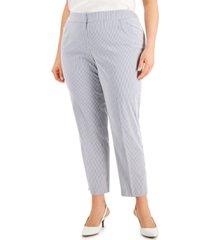 kasper plus size striped chambray ankle-length pants