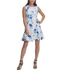 dkny floral-print fit & flare dress