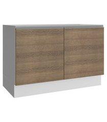 balcão gabinete de pia madesa acordes 100% mdf 120 cm 2 portas branco/rustic cor:branco/rustic